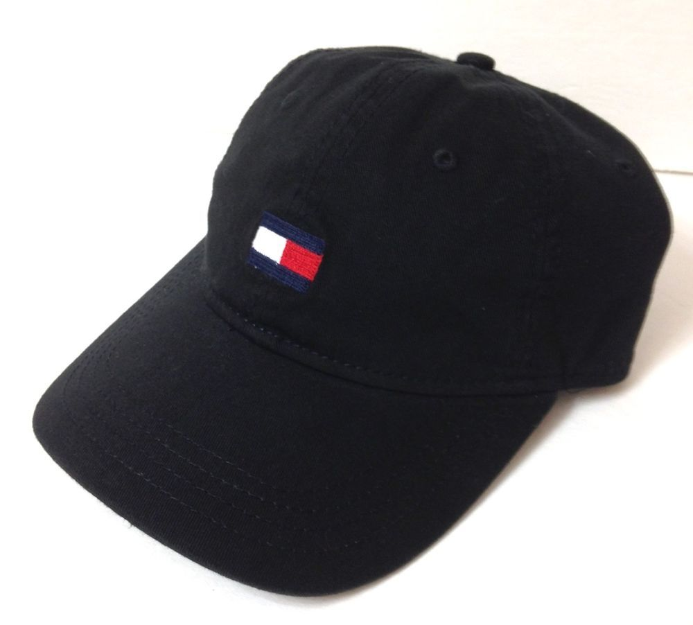 New  26 TOMMY HILFIGER HAT Relaxed Fit BLACK Unstructured Dad Cap Men Women  NWT  TommyHilfiger  BaseballCap 20e42a8920b