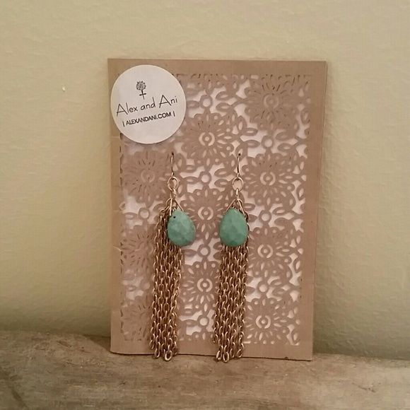 Alex and Ani turquoise earrings Gorgeous,  never worn. Gold in color with stone pendant. Not around anymore. Any questions please ask! Alex & Ani Jewelry Earrings