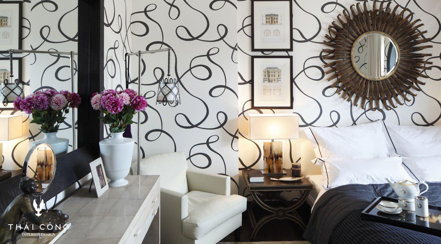 Schwarz Weißes Schlafzimmer, Schlafzimmer, Schwarz, Weiß, Tapete, Muster,  Dedar,