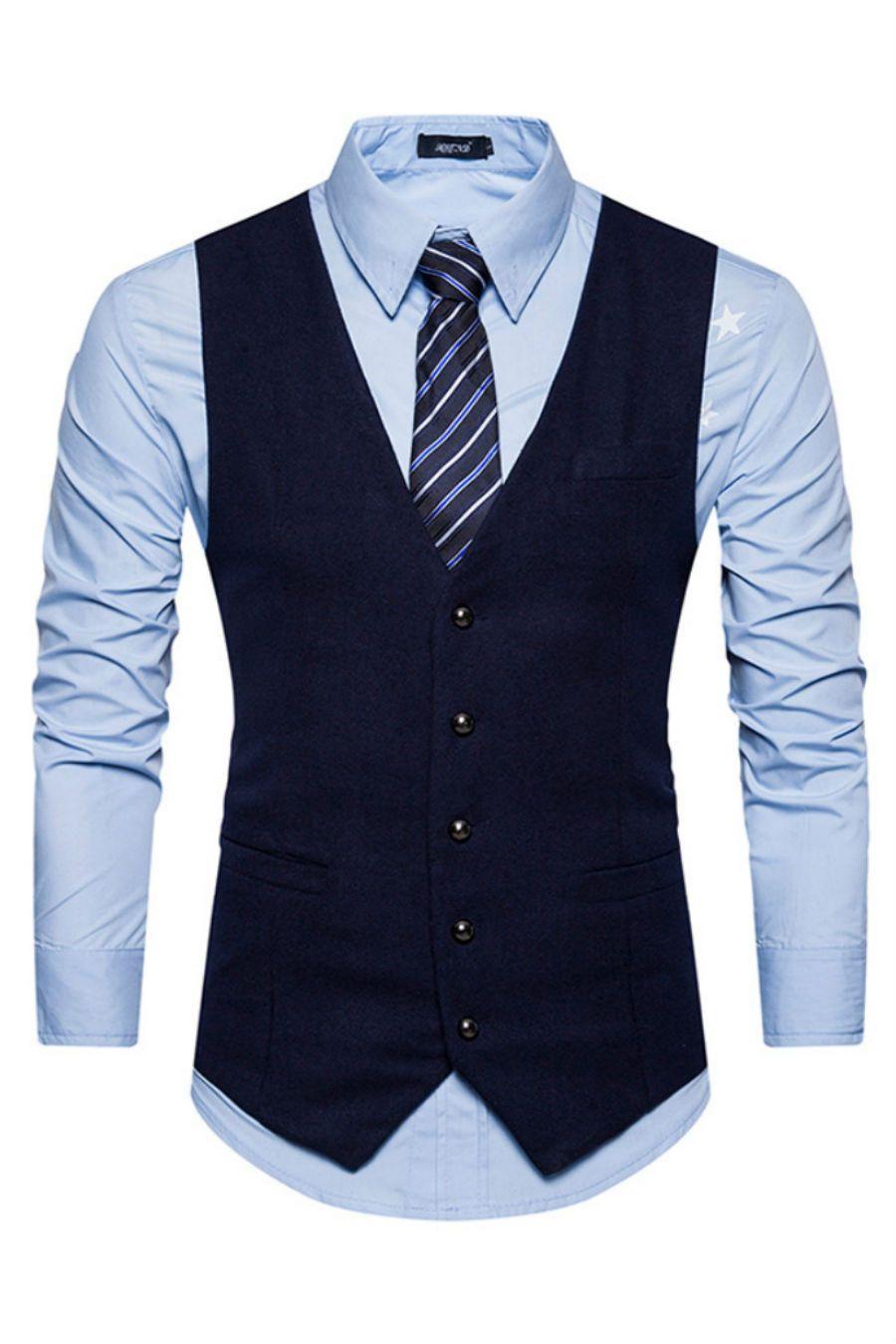Elegant Navy Slim Suit Vest Dress Suits For Men Dress Suit Vest Mens Fashion Suits