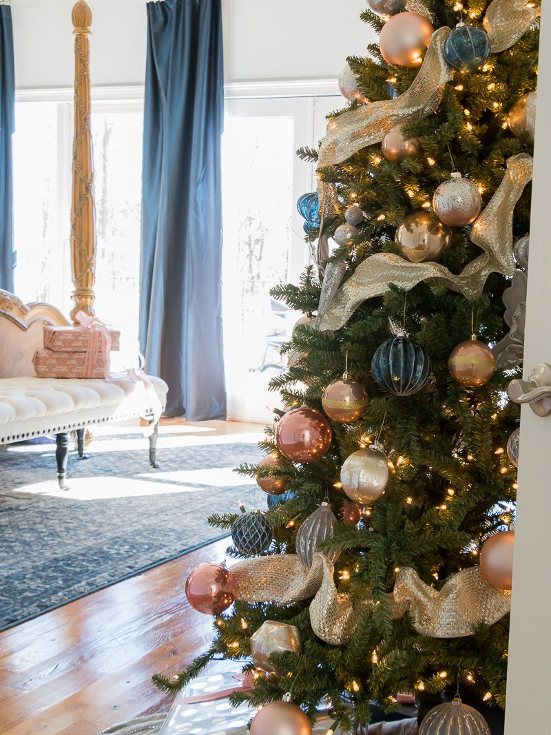 Holiday Bedroom Using Navy And Blush Colors Duke Manor Farm Rose Gold Christmas Tree Rose Gold Christmas Gold Christmas Decorations