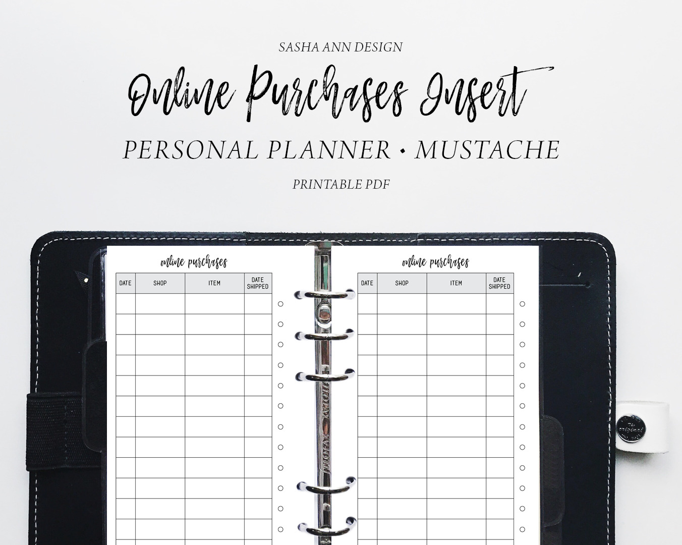personal planner online purchases planner printable