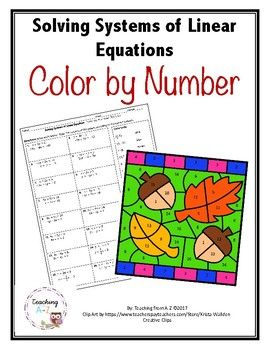 Solving Systems of Linear Equations Color by Number