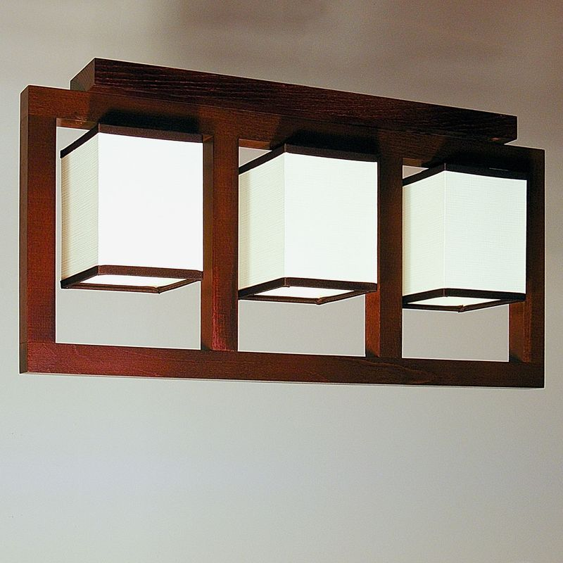 Boston ceiling lights with three bulb lights wenge brown wood frame boston ceiling lights with three bulb lights wenge brown wood frame and white pvc lamp shades mozeypictures Choice Image