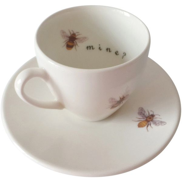 Outlandish Creations Bee Mine Tea Cup & Saucer featuring polyvore, home, kitchen & dining, drinkware, fillers, food, objects, tea, backgrounds, everyday drinkware, tea cup, tea saucer, tea cup saucer and bumble bee cups