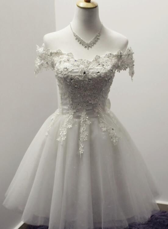 Gorgeous White Off Shoulder Tulle Lace and Beaded Homecoming Dresses, Cute Party Dress 2018