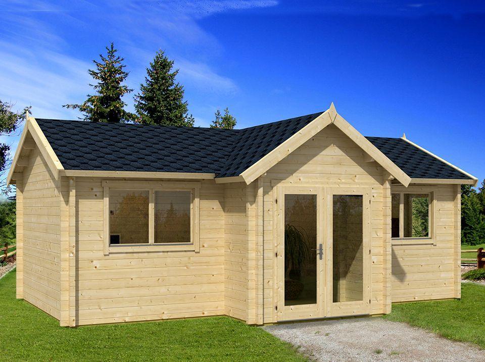 Chalet en bois KERSTIN 24 m² - 70 mm | Chalet en bois habitable, Toiture en bois, Chalet bois
