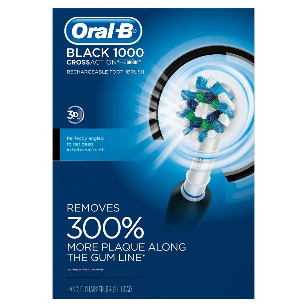 Oral B Black Pro Crossaction 1000 Rechargeable Electric Toothbrush