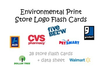 Environmental Print Store Logo Flash Cards Data Sheet Environmental Print Flashcards Life Skills