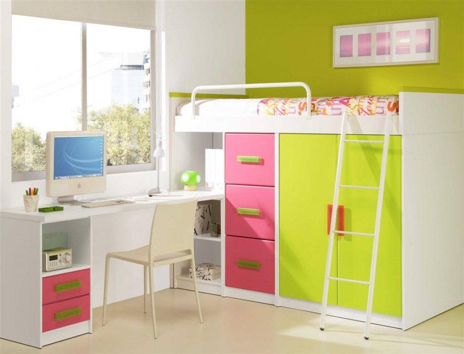 Colorful Kids Loft Bed Furniture With Vivacious Atmosphere Used