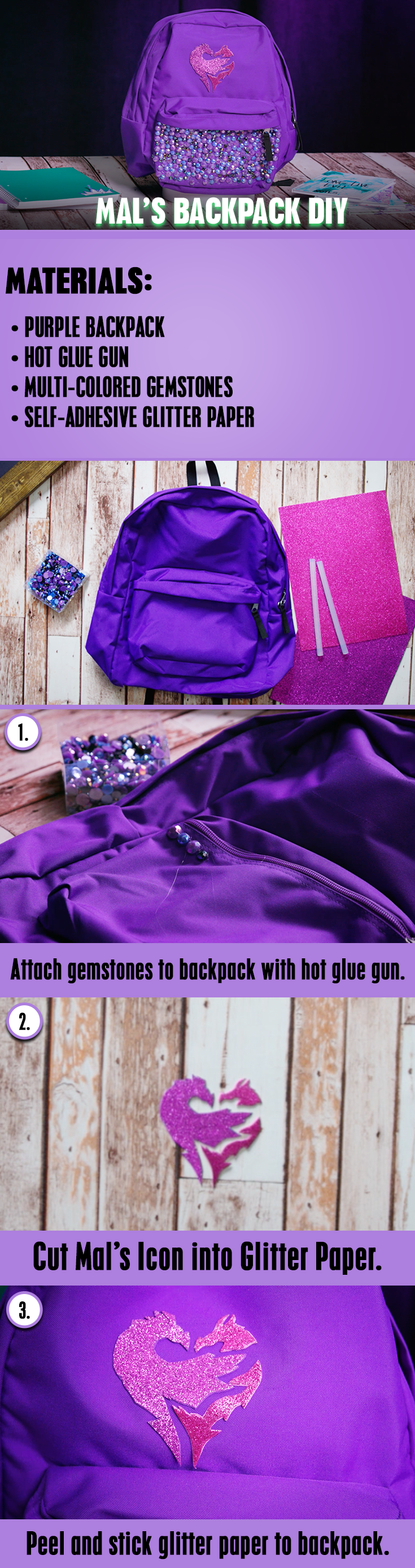 Descendants 2 Mal S Backpack Diy Get Ready For Back To School By Creating Your Own Mal Inspired Backpack Diy Backpack Descendants Fabric Embellishment