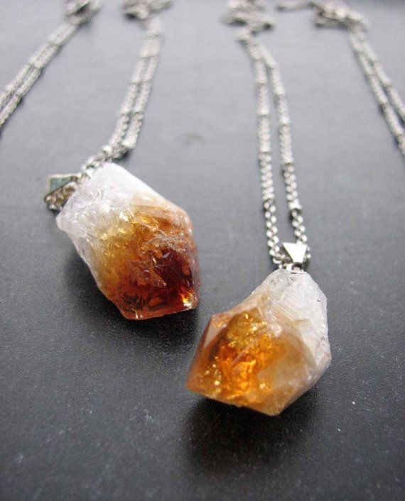 Raw citrine crystal point necklace amber rough by friendlygesture pendants raw citrine crystal aloadofball Choice Image
