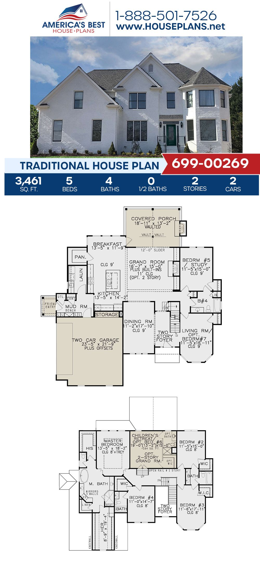 House Plan 699 00269 Traditional Plan 3 461 Square Feet 5 Bedrooms 4 Bathrooms Traditional House Plan Traditional House Traditional House Plans