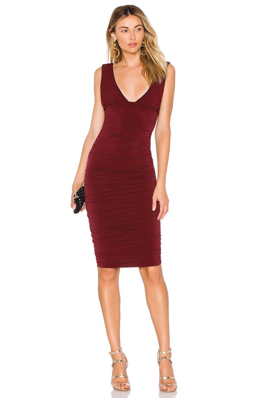 Nookie Jolie Plunge Midi Dress In Wine Midi Dress Bodycon Plunge Midi Dress Midi Dress [ 1450 x 960 Pixel ]