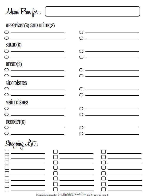 Holiday Menu Planning Printable   Clean mama, Free ...
