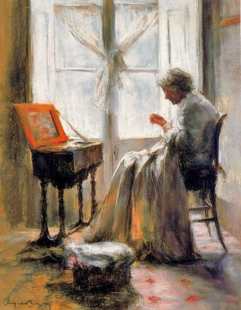 Cayetano De Arquer-Buigas (Spanish painter, b 1932) Woman Sewing