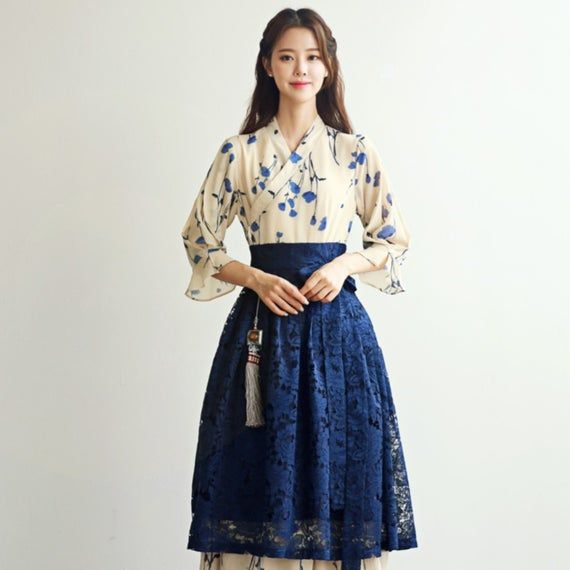 Beautiful Modern Hanbok Dress For Women | Hanbok Skirt | Midi Dress | Korean Style (CL00025A)