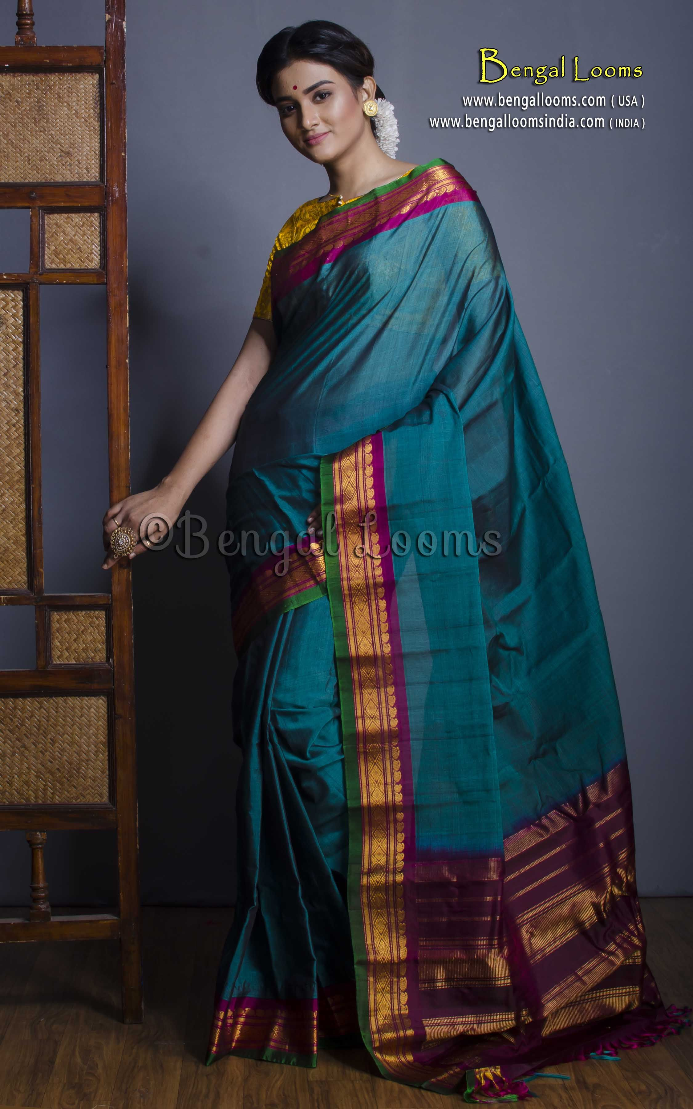 aa9356e1a54d1 Pure Handloom Gadwal Cotton Silk Saree in Peacock Blue and Purple ...