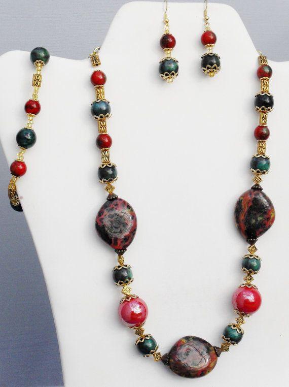 Artisan OOAK coral fancy red jasper nephrite jade by ElmsRealm, $50.00
