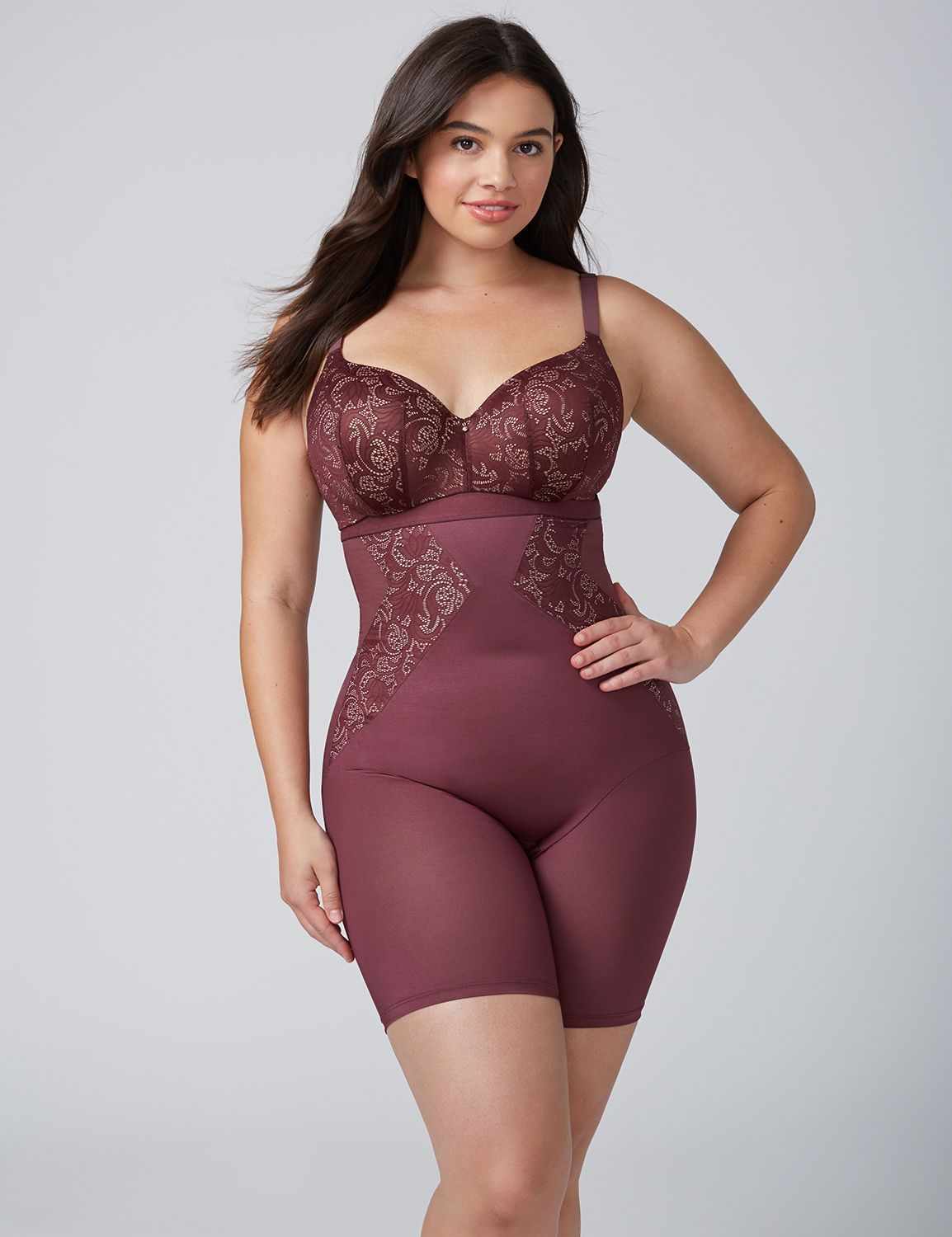 6c7abafbbda Shape by Cacique Illusion High-Waist Thigh Shaper with Lace ...