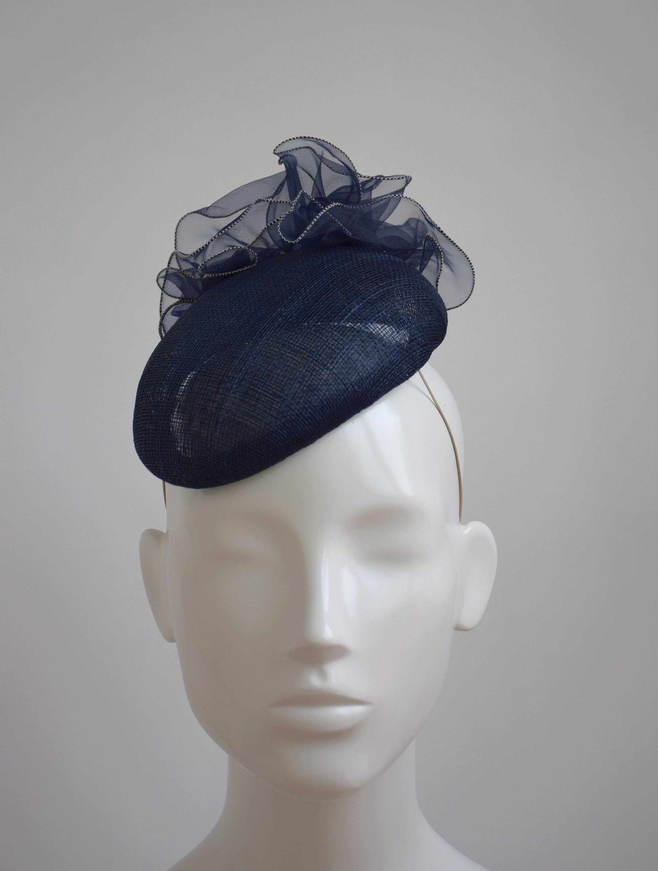 9232db0157a08 Dark Navy Cocktail Hat - Navy Blue Fascinator - Navy Wedding Hat - Navy Blue  Royal Ascot Hat - Navy Hatinator - Dark Navy Wedding Fascinator by ...