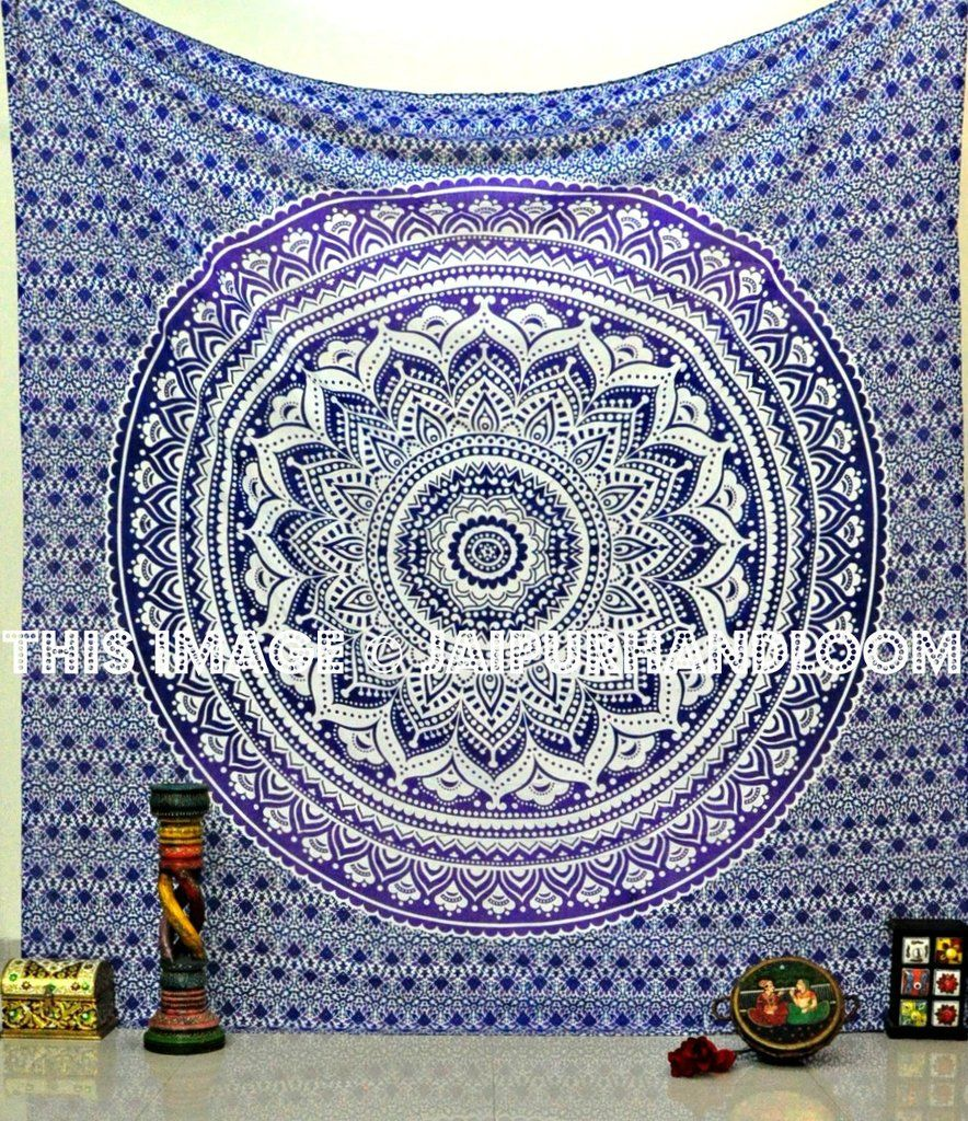 Blue multi elephants sun ombre mandala wall tapestry royalfurnish - Add A Distinctive Touch To Your Bedroom Space By Hanging Indian Mandala Hippie Tapestry