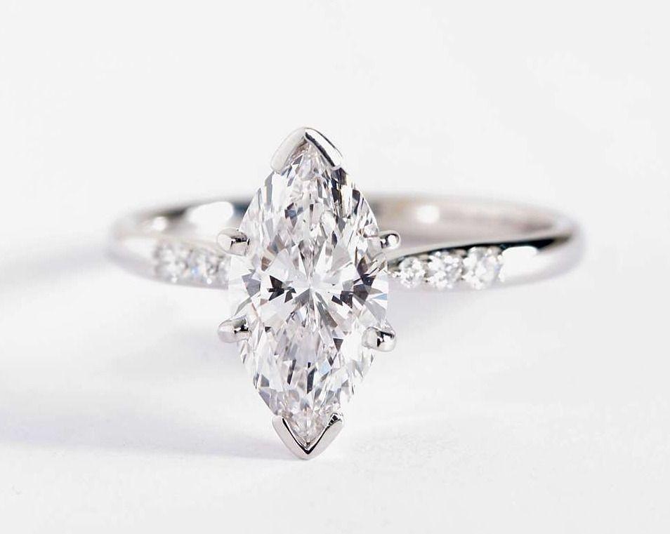 Petite Diamond Engagement Ring In 14k White Gold 1 10 Ct Tw Engagement Rings Marquise Fine Engagement Rings Vintage Engagement Rings