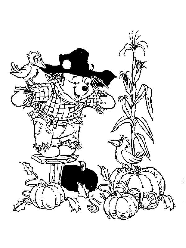winnie the pooh becomes scarecrow coloring page Free Printable