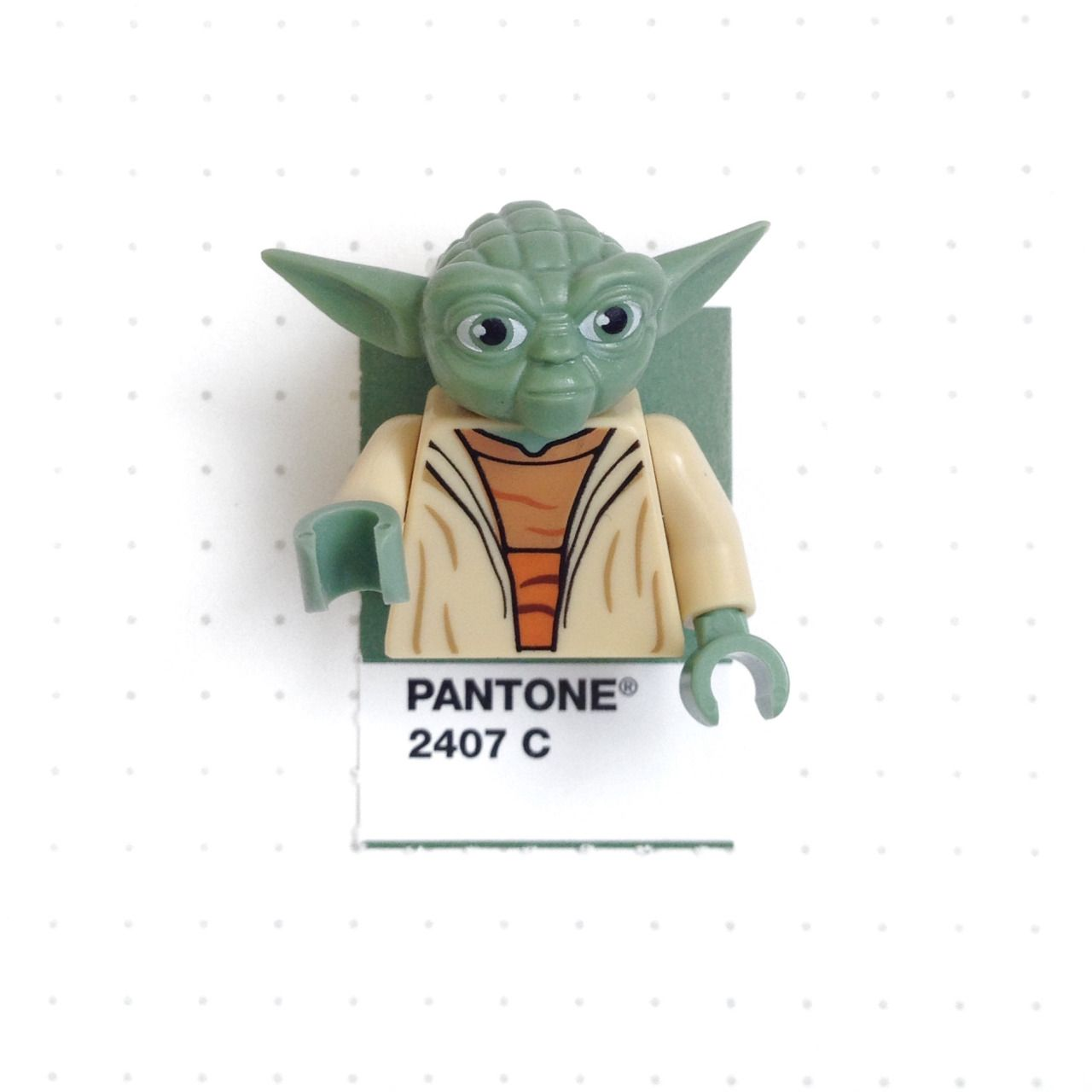 "Pantone 2407 color match.  Lego Yoda.  ""Do. Or do not. There is no try."""