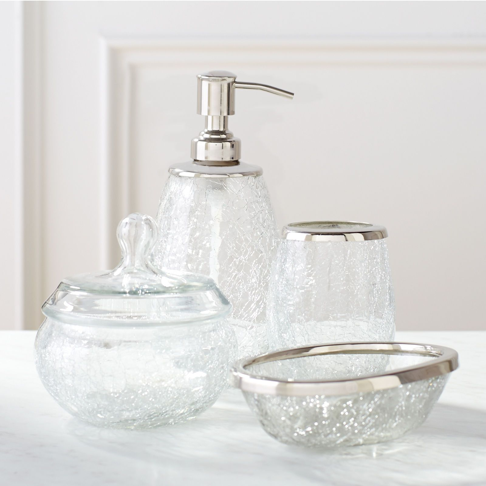 Fashion Meets Function In Our Sleek Crackle Glass Bath Accessories