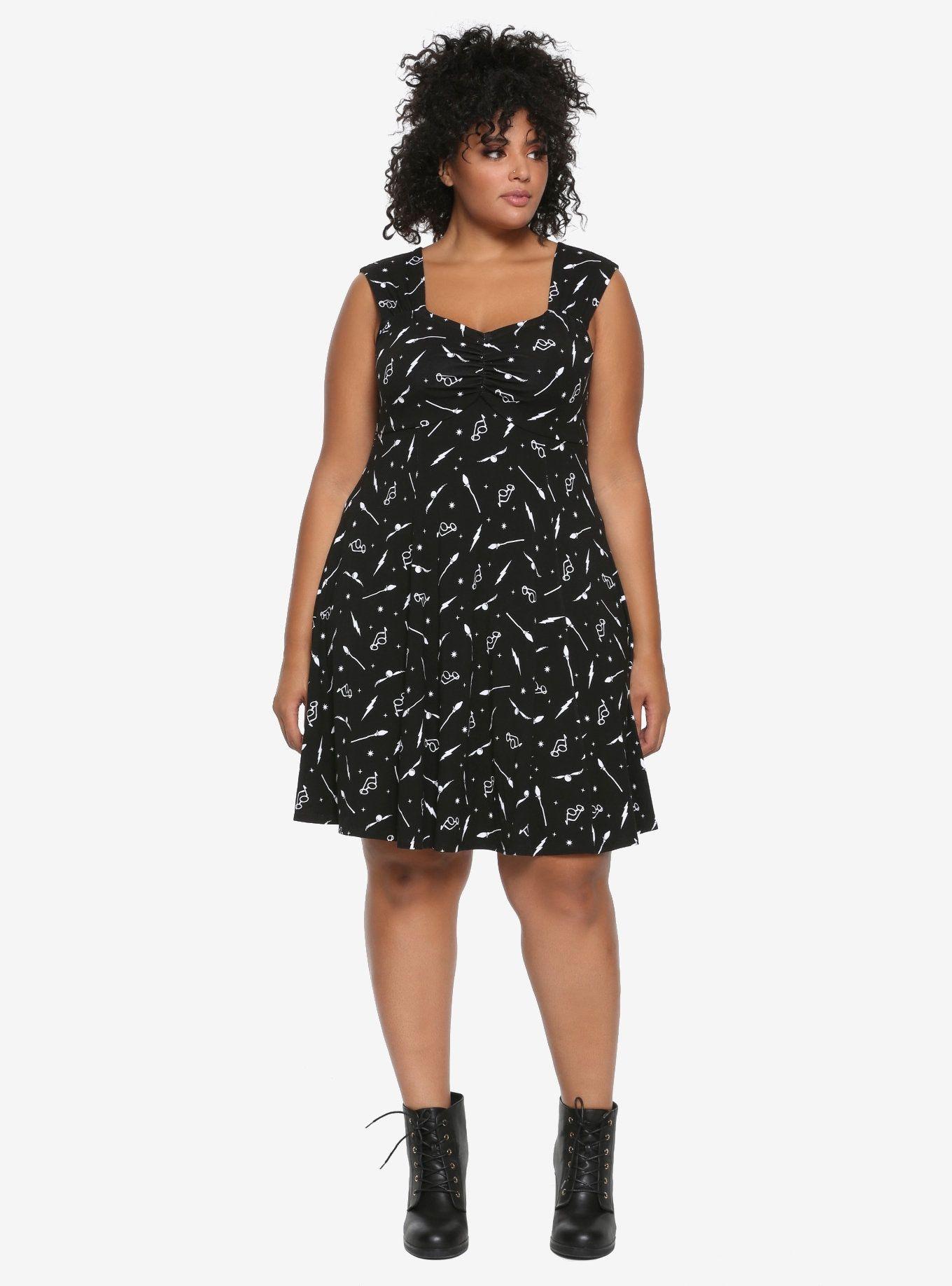 ff519ce745a25 Harry Potter Black   White Icon Dress Plus Size