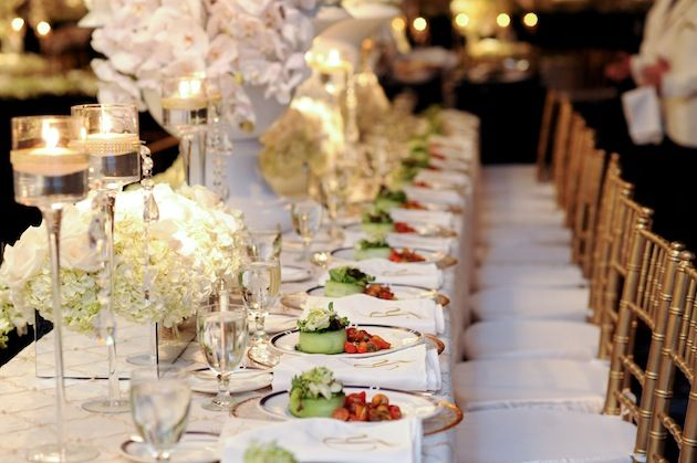 The glam factor of long reception tables reception long for Long table centerpieces