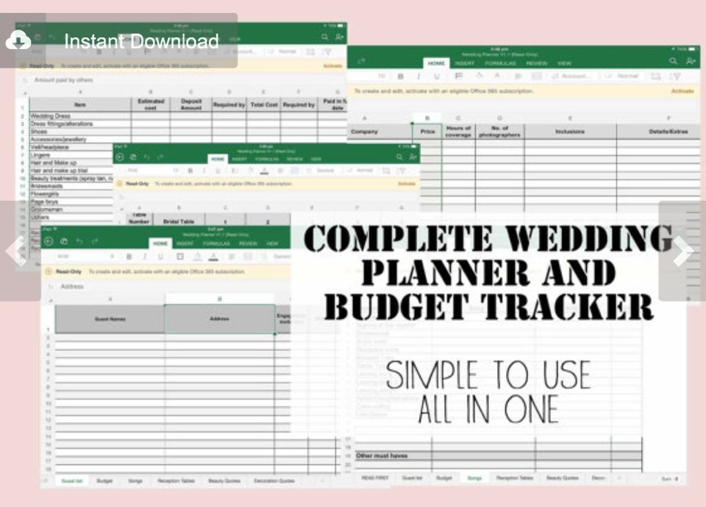 Wedding planner  budget / expense tracker excel spreadsheet