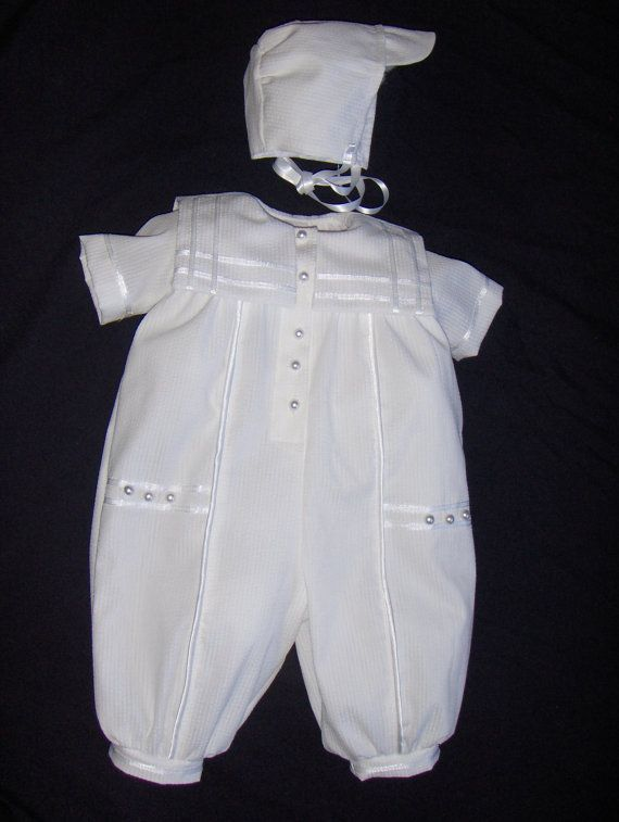 Infant Baby Boys 3-Piece Set Romper Christening Gown Baptism Outfit  Sz 3 6 12 M