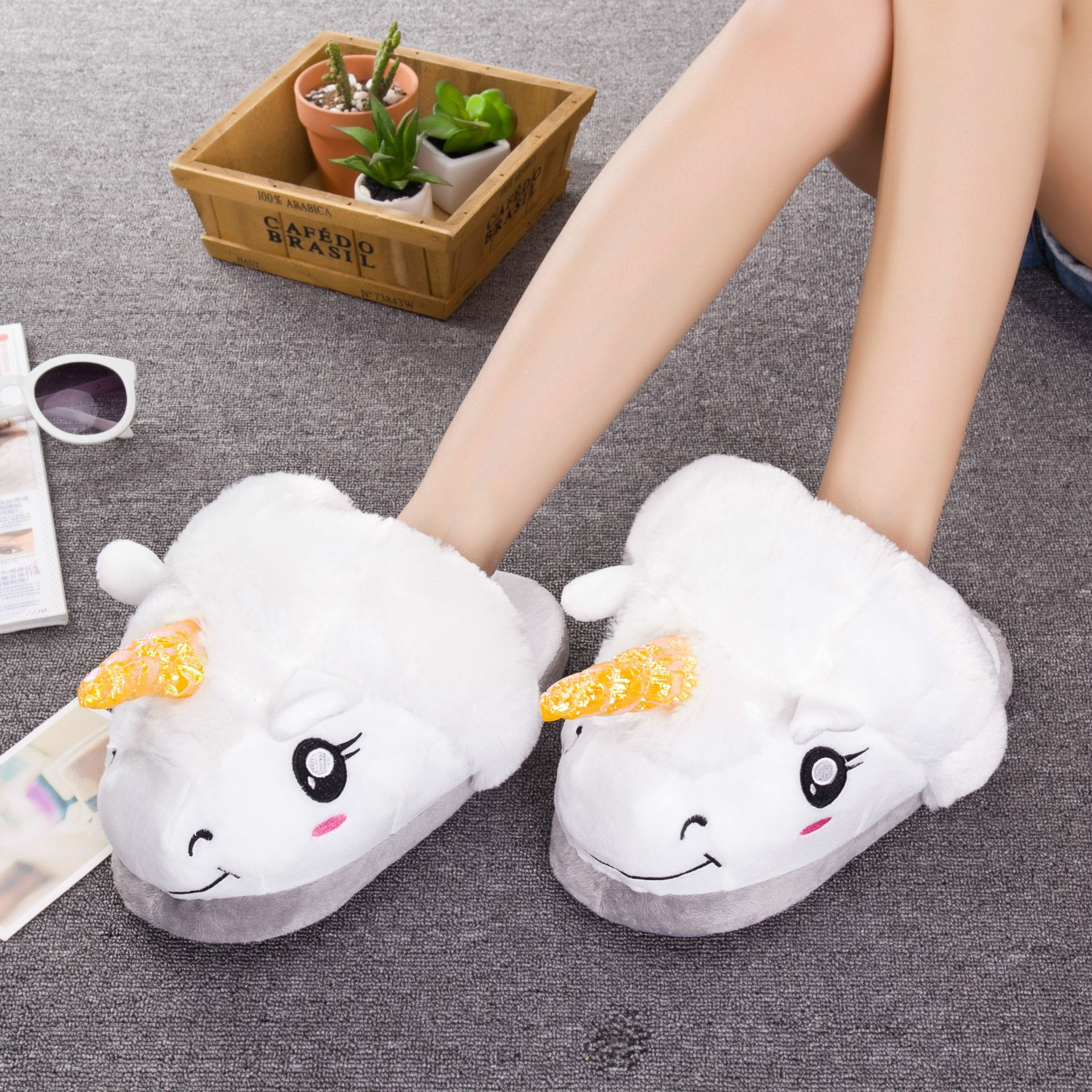 Creative Cute Warm Slippers Plush Golden Horn Unicorn Slippers For Grown Ups Adults Home Shoes Wish Unicorn Slippers Plush Unicorn Slippers Warm Slippers