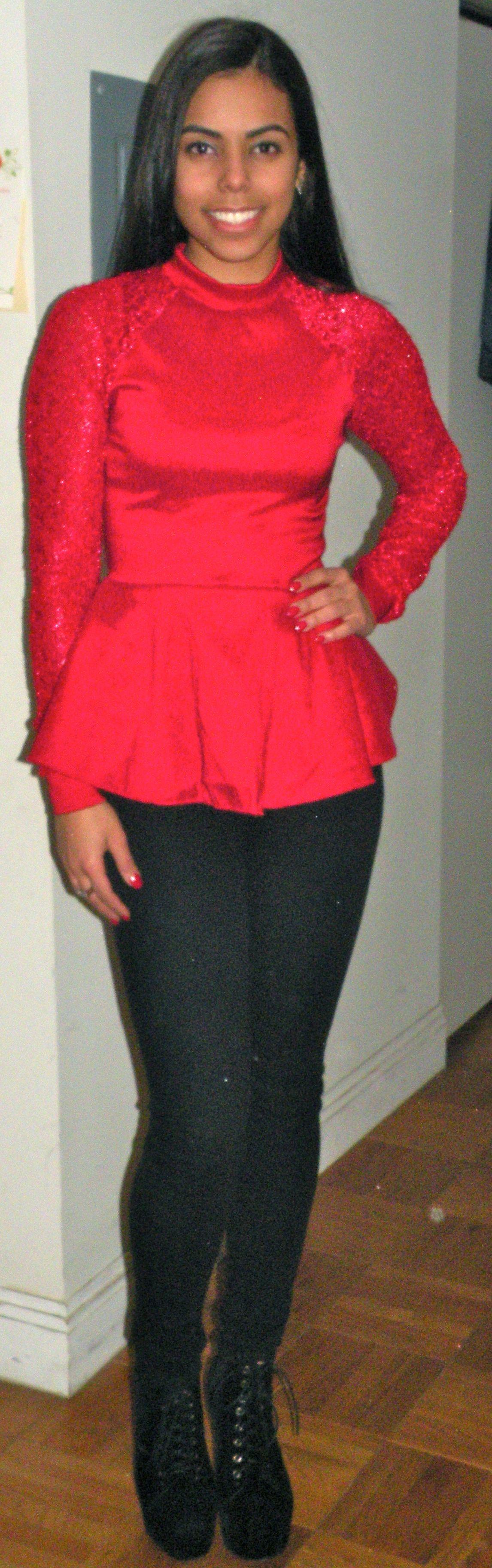 Red Lace Sleeve Peplum