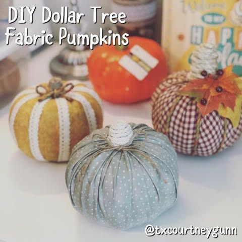 DIY Dollar Tree Fabric Pumpkins #dollartreecrafts
