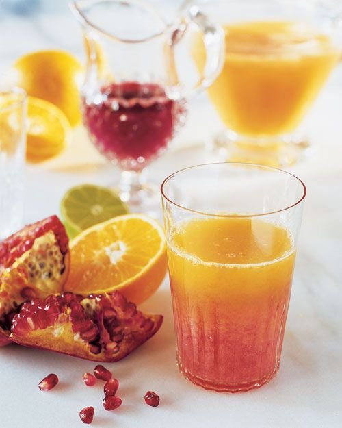 Combine grapefruits, oranges, tangerines, and pomegranates, for a colorful juice filled with antioxidants. Pomegranate-Citrus Juice, Wholeliving.com
