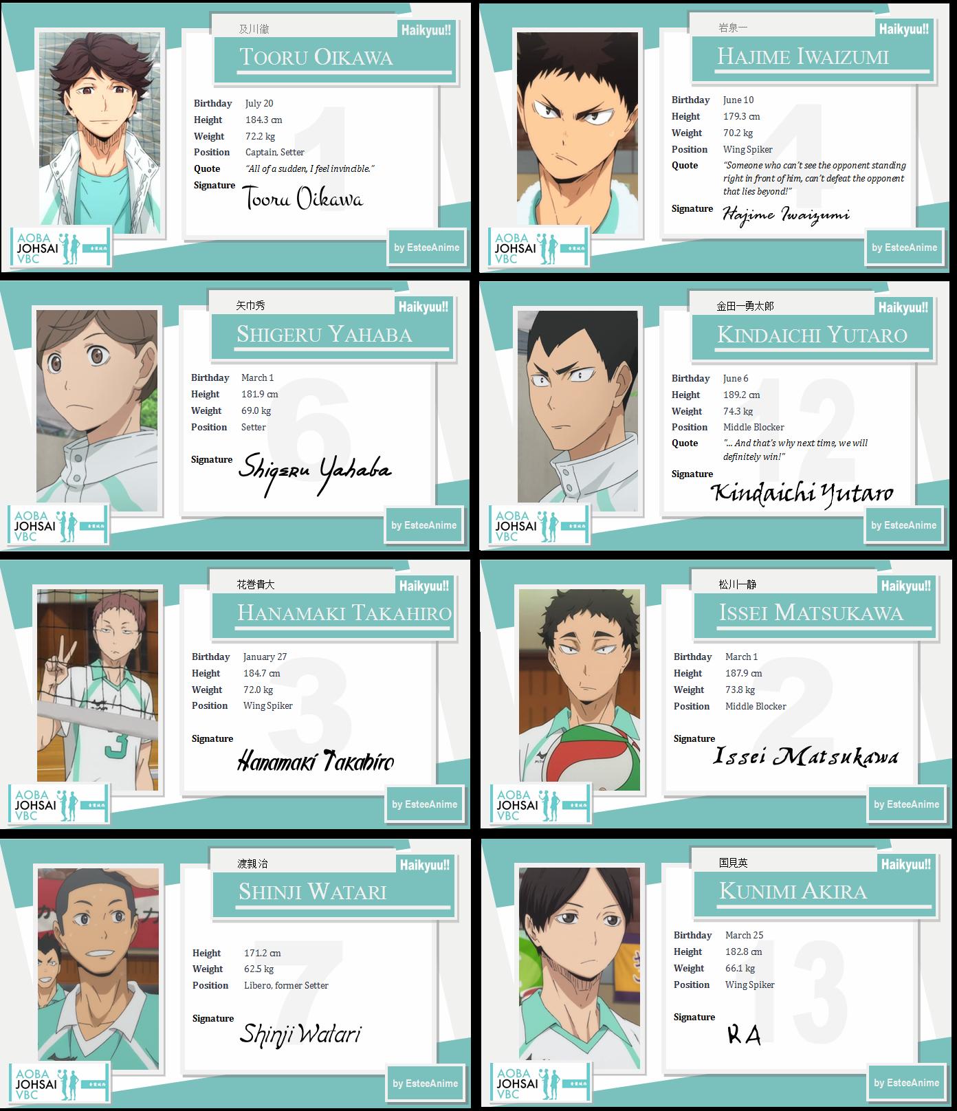 Haikyuu Character Cards Aoba Josai By Esteeso Haikyuu Haikyuu Characters Haikyuu Wallpaper
