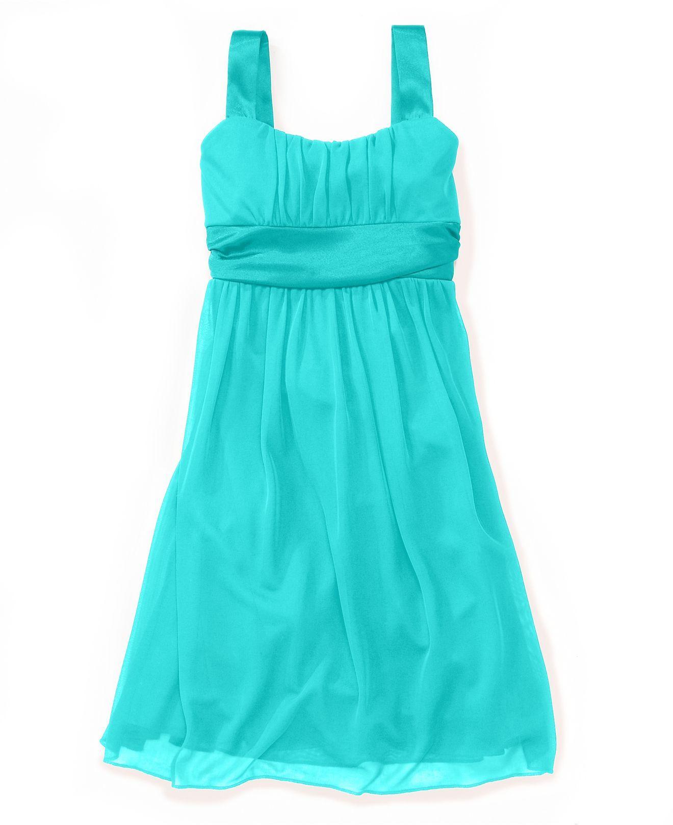 Ruby Rox Kids Dress, Girls Plus Size Sheer Matte Empire Waist ...
