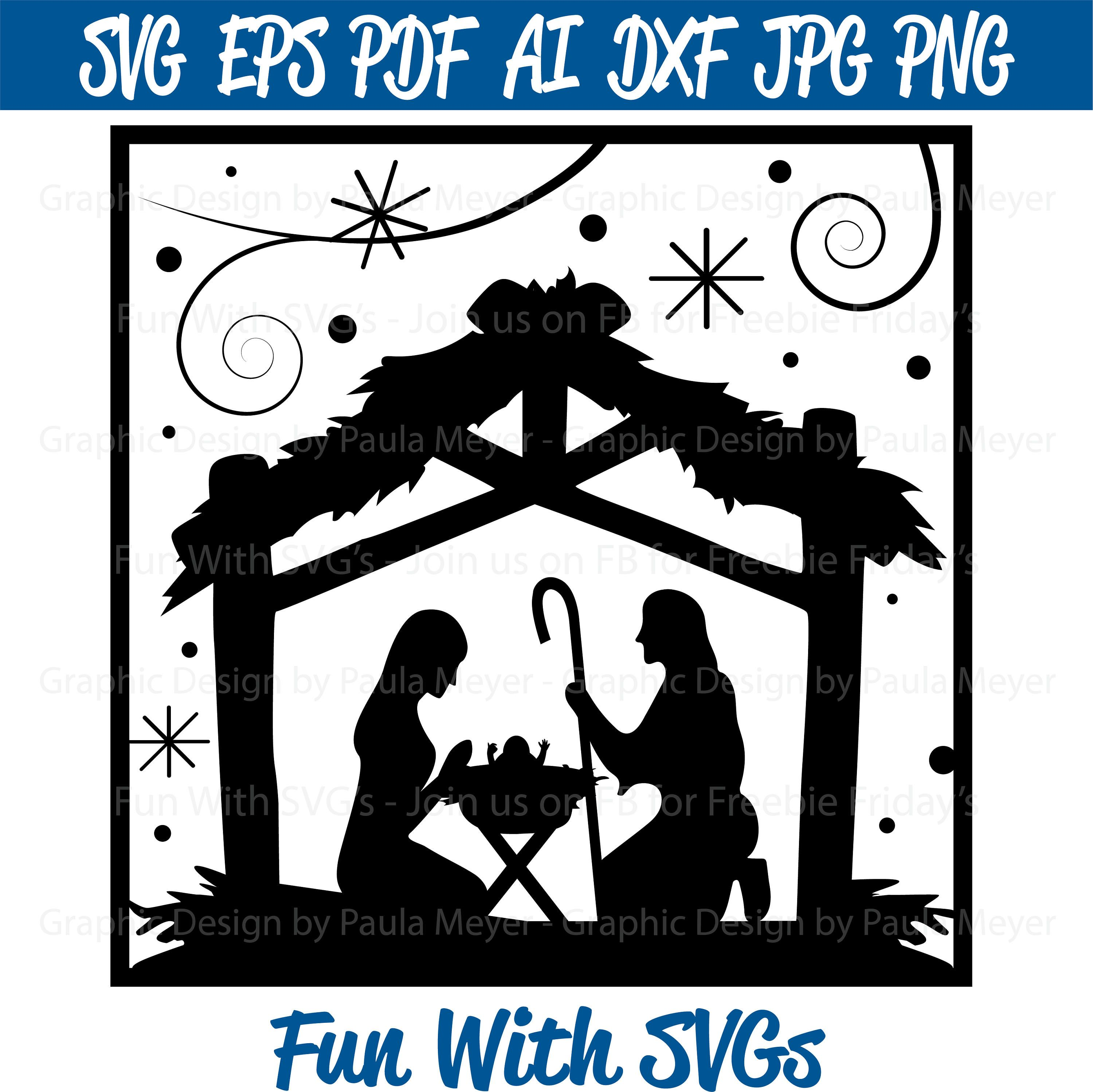 Fun with Svgs Nativity silhouette, Christmas glass