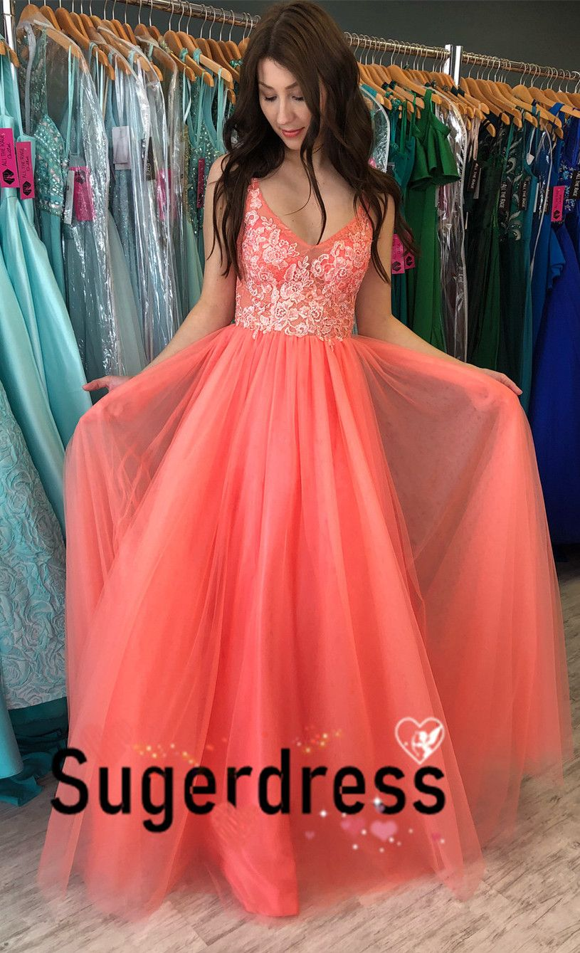 Princess red long prom dress with appliques from sugerdress in