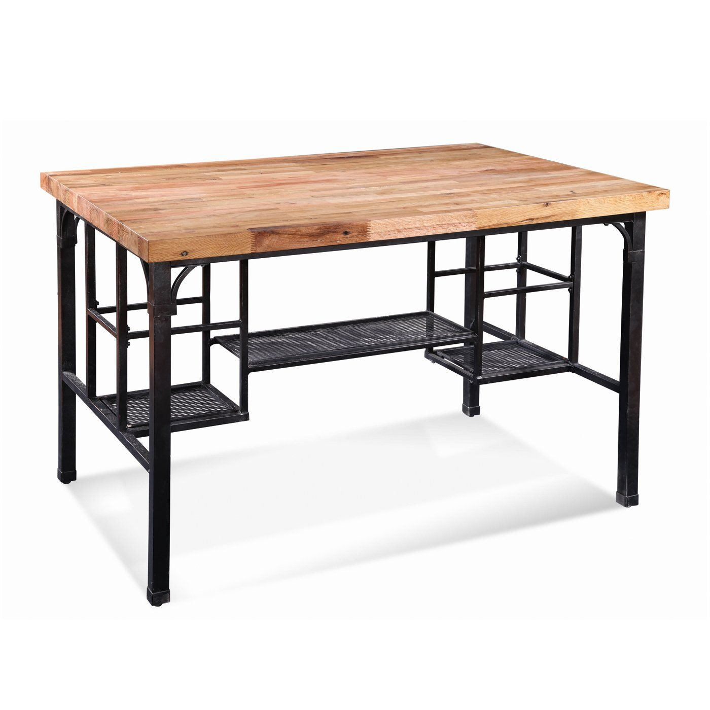 High rise gathering height butcher block top table kitchen island