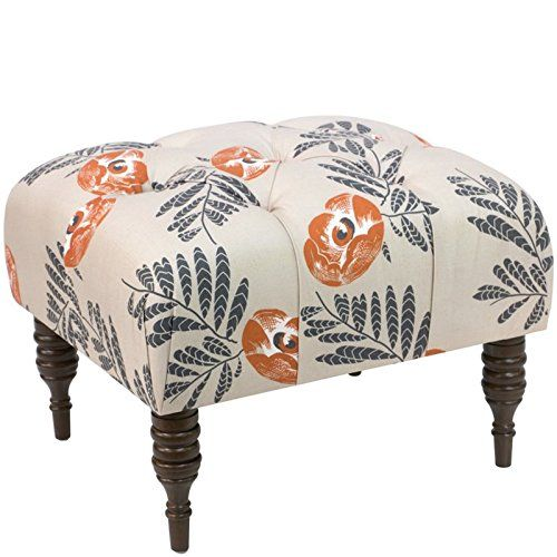 Skyline Furniture Tufted Ottoman in Mod Floral Orange Want to