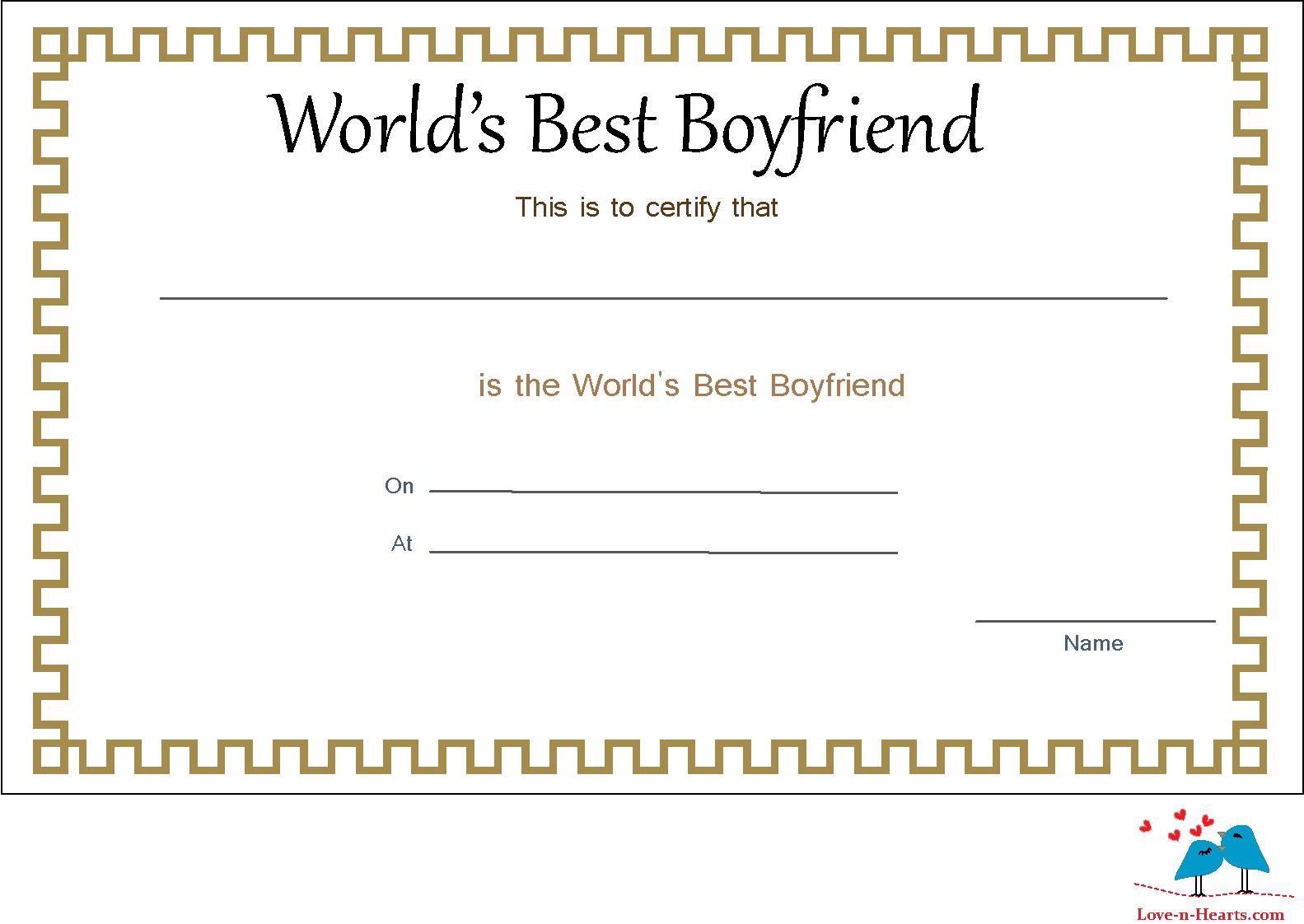 Elegant World S Best Boyfriend Certificate Best Boyfriend Love You Boyfriend Certificate Templates