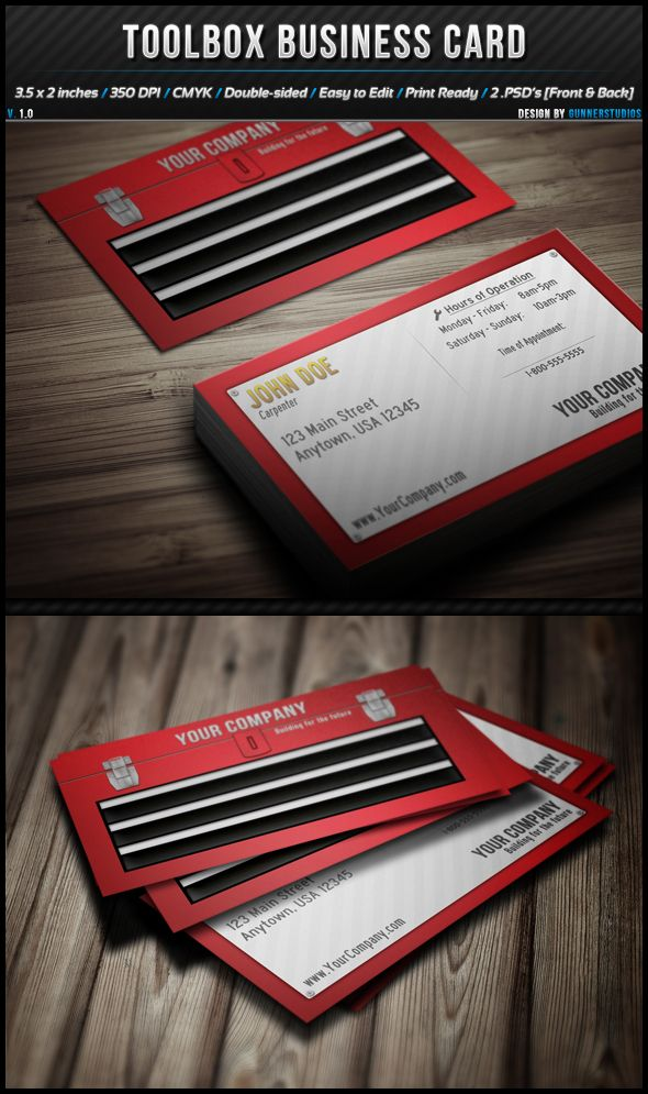 This brilliant toolbox business card and 12 other red business card ...
