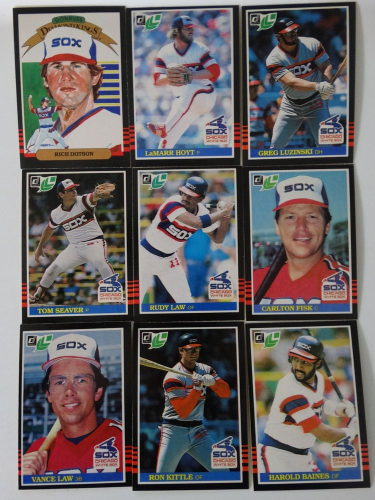 1985 donruss leaf chicago white sox team set of 9 baseball