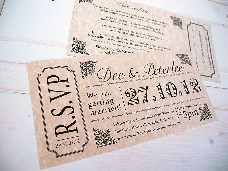 Vintage Style Concert Ticket Tickets Wedding And