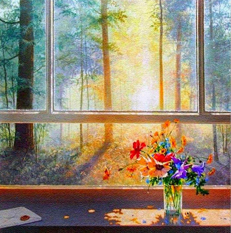 Cuadros De Ventanas Con Flores Pintados Al Oleo Arte De Ventana Pinturas Impresionistas Pintura De Arte Abstracto