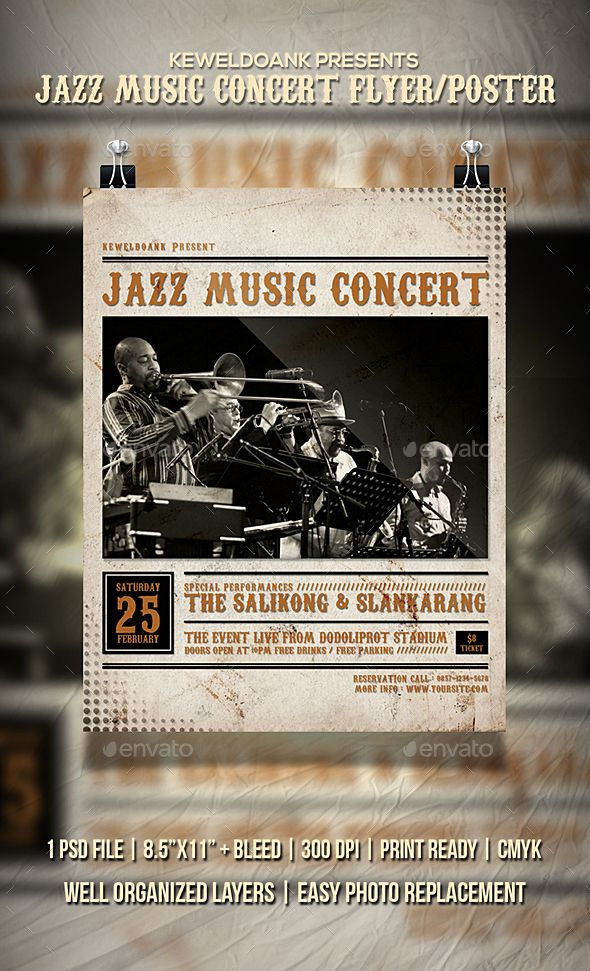 Jazz Music Concert Flyer / Poster. Professional concert flyer template. #flyer #design #printDesign #music #concert #print #2017Flyer #club #ClubParty #deluxe #dj #elegant #event #EventFlyer #festival #girl #glow #jazz #JazzEvent #JazzMusic #night #NightParty #party #poster #PrintTemplate #typography